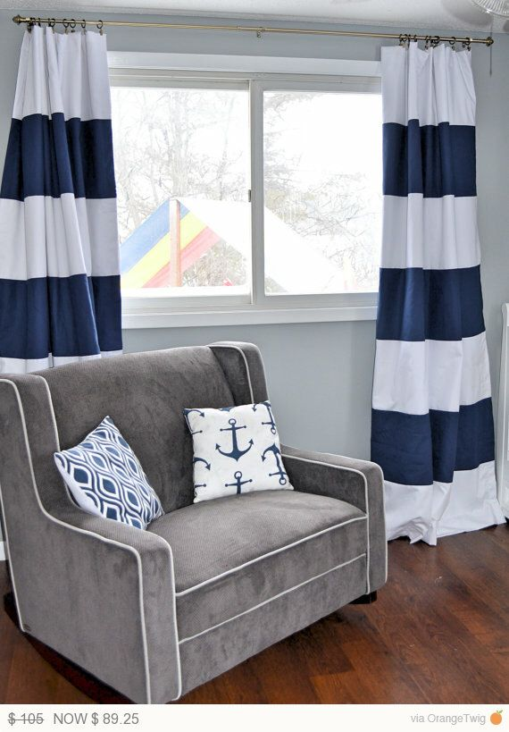 Custom Navy Blue Striped Curtains Stripes Color Blocked Nautical Nursery Window Treatments