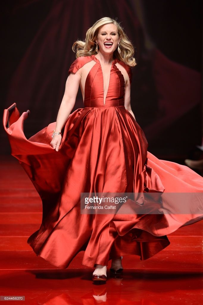 Actress Bonnie Somerville walks the runway at the American Heart Association's Go Red For Women Red Dress Collection 2017 presented by Macy's at Fashion Week in New York City at Hammerstein Ballroom on February 9, 2017 in New York City.