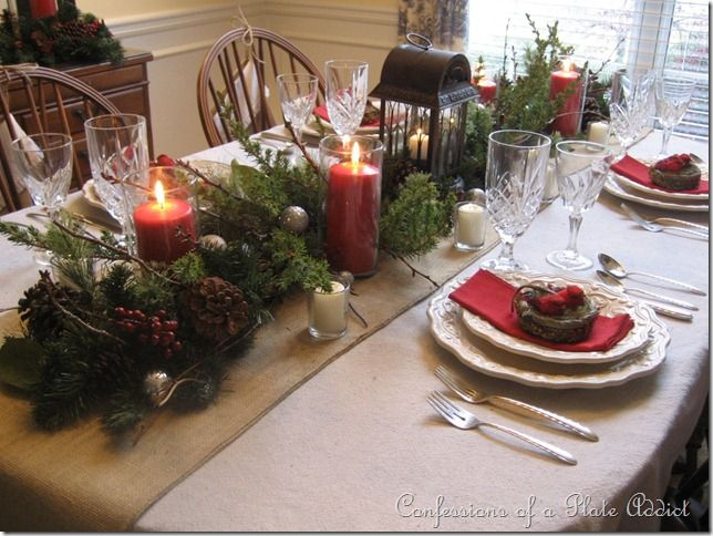 Image detail for plate addict my rustic christmas for Burlap christmas table decorations