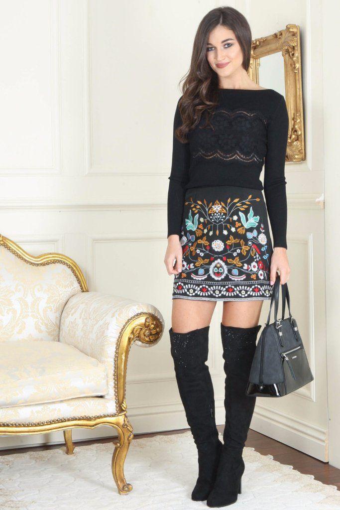 Liza Black Embroidered Mini Skirt