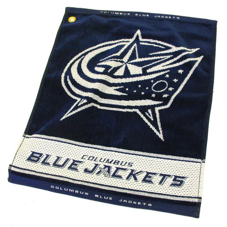 Columbus Blue Jackets NHL Woven Golf Towel  This 16 x 22 jacquard woven golf towel will compliment any golf bag. Includes corner hook and grommet.