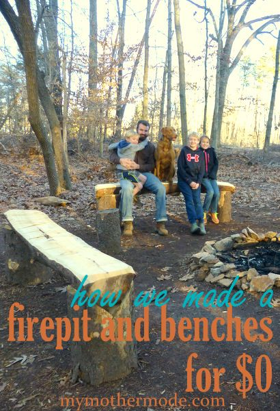 Fire pit and benches: $0. Yes, really- this fire pit and benches were free for the making. How we made a simple, rustic family gathering spot in the woods...