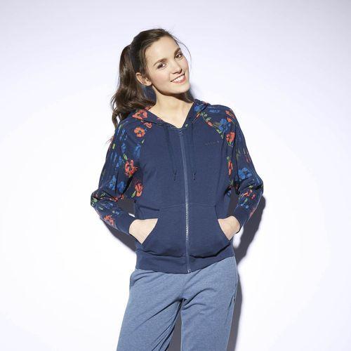 Buzo con Capucha NEO Floral Mujer - Azul
