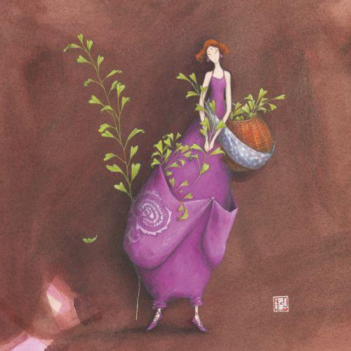 """Gaëlle Boissonnard carte d'art carrée """"La cueilleuse"""""""