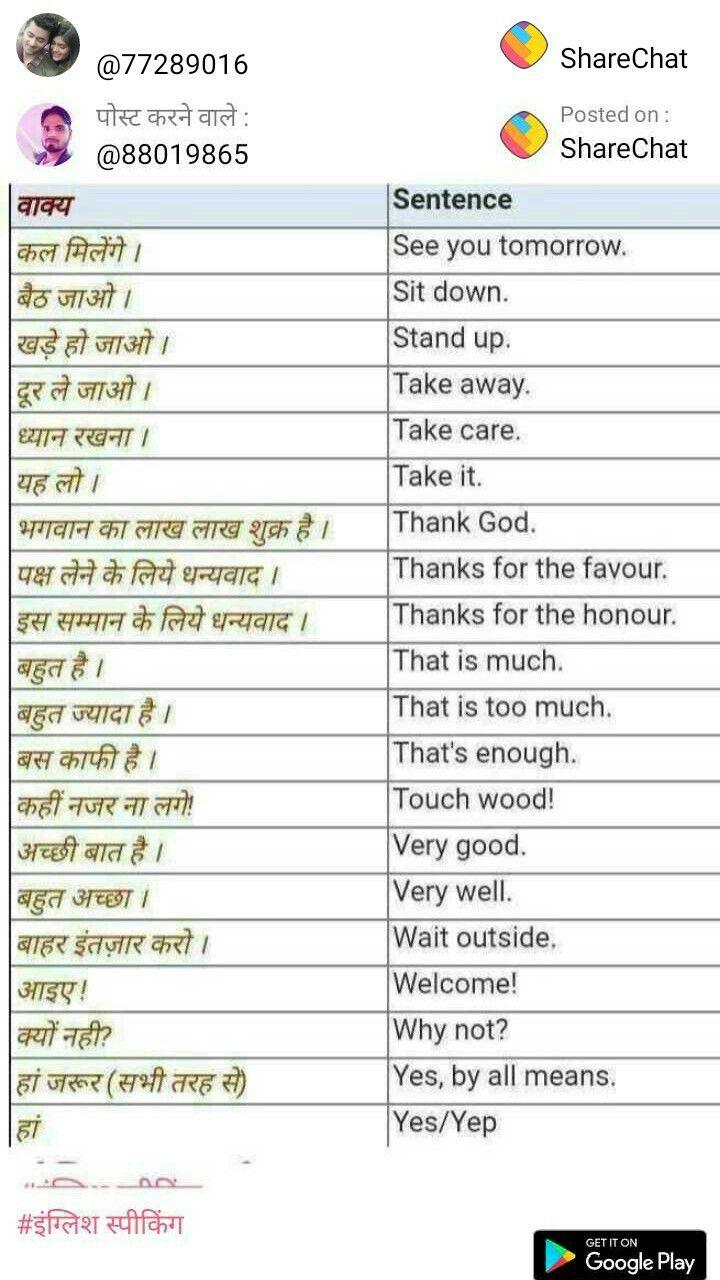 Hindi Words Learn English Vocabulary English Learning Spoken Hindi Language Learning