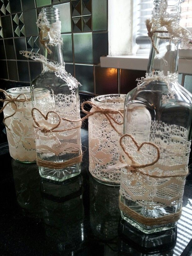 Wedding table decorations. Candle holders #vintage #lace # ...