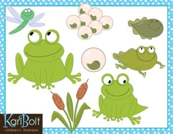 This FREE Frog Clip-Art set illustrates the life-cycle of a frog from egg to adult. Included is a cluster of eggs (spawn), single egg, tadpole, tadpole with legs, frog with tail, adult frog, dragonfly and cattails. Each png file is an average size of 8 inches so are perfect for classroom display or can be reduced for worksheets, activities, posters, and scrapbooks.