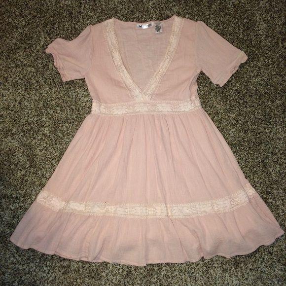 NWOT Empire Waist Dress NWOT•Blush, crocheted trim, empire waist, v-neck dress. Lined under the skirt of dress. Runs a little short Papillion Dresses