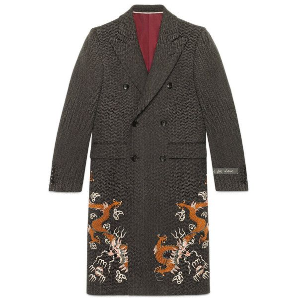 Gucci Herringbone Coat With Dragons (€5.690) ❤ liked on Polyvore featuring men's fashion, men's clothing, men's outerwear, men's coats, mens herringbone coat, mens double breasted coat, mens double breasted wool coat and mens wool coats