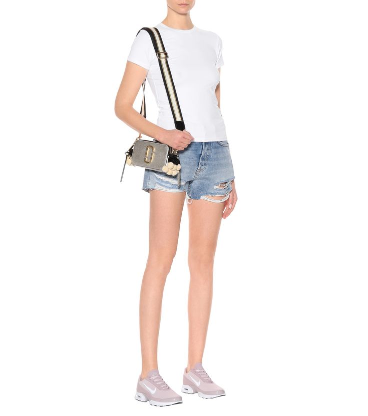 Cotton-jersey T-shirt (ATM Anthony Thomas),Helena distressed denim shorts (GRLFRND),Nike Air Max Jewell pink sneakers (Nike),Snapshot Small leather shoulder bag (Marc Jacobs)