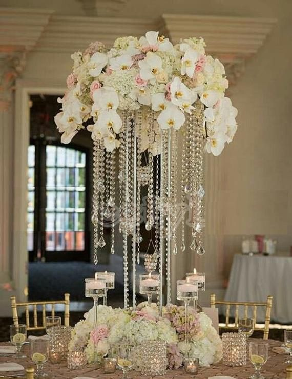 15 Tall Square Acrylic Event Centerpiece With Acrylic Hanging C Crystal Centerpieces Wedding Wedding Table Decorations Centerpieces Flower Centerpieces Wedding