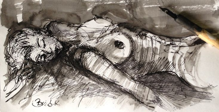 sweet dream ink drawing art by Konrad Biro