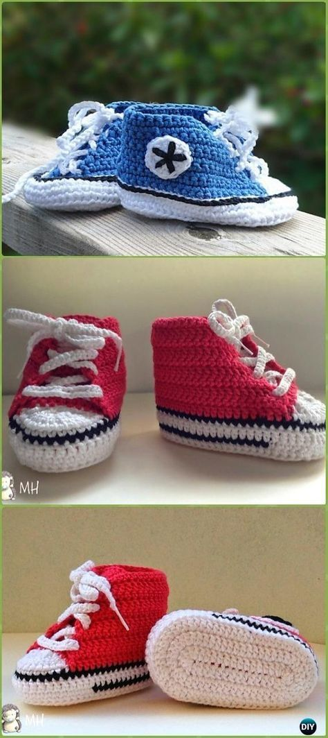 63a86dbd9a11 Crochet Baby Converse Sneakers Free Pattern Video - Crochet Sneaker  Slippers Free Patterns