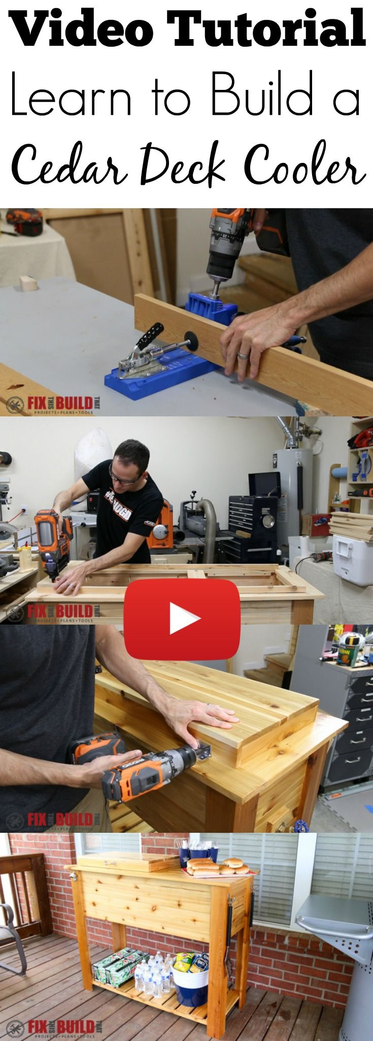 Full video build tutorial on how to build a Cedar Deck Cooler.  This ice box will look great on your patio and even has space for your grill cart storage items.