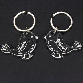 Porte clé couple inséparable - 2 oiseaux avec prénom gravé
