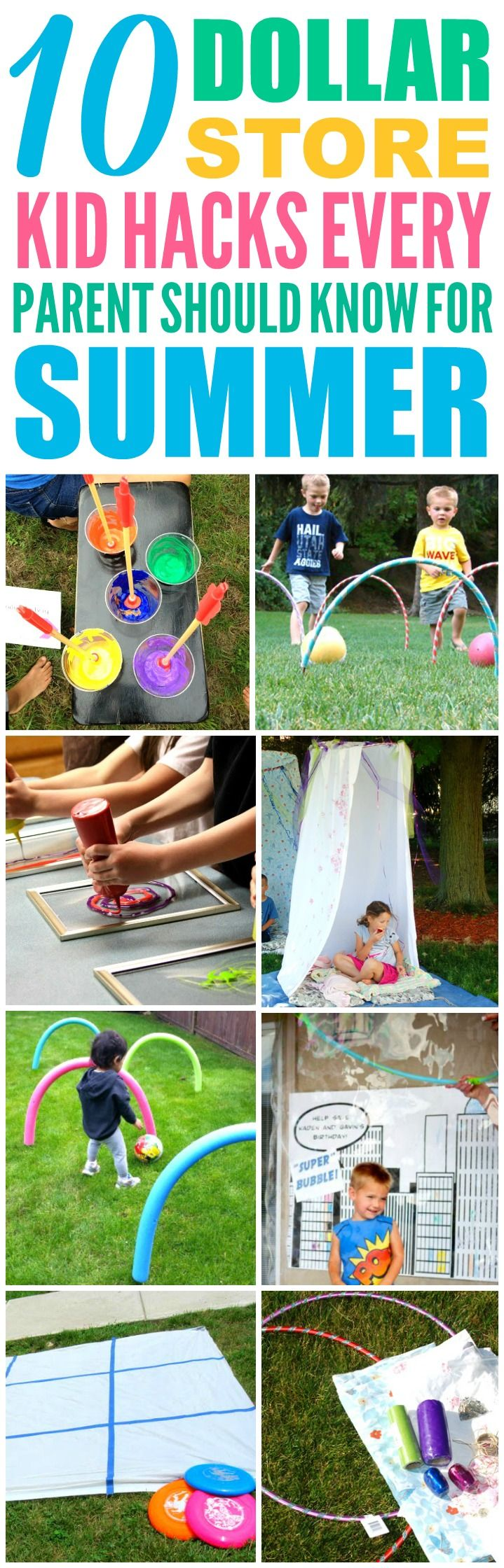 These 10 Dollar Store Hacks to Keep Your Kids Busy All Summer are THE BEST! I'm so glad I found these AWESOME summer activities for kids! Now I have some great ways to keep my kids off the computer and having fun this summer! Definitely pinning!