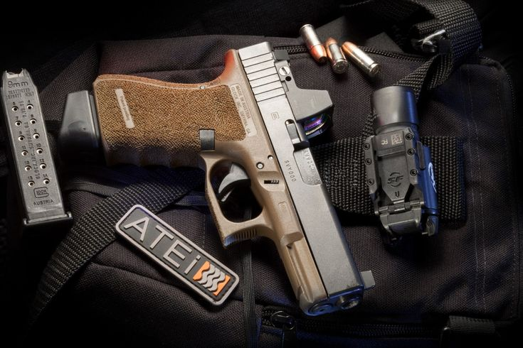 Full Of Weapons: Glock 19 Gen 4 FDE Trijicon RMR install by ATEi Suppressor sights Surefire X300 Basic Retexture Medium