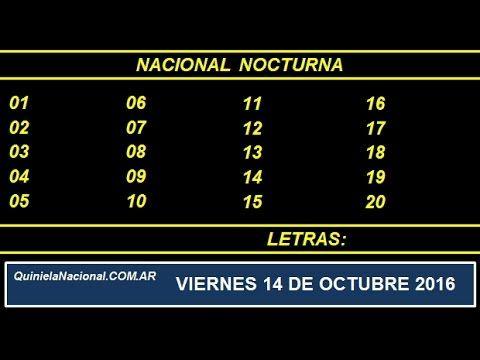 Quiniela - El Video oficial de la Quiniela Nocturna Nacional del día Viernes 14 de Octubre de 2016. Info: www.quinielanacional.com.ar