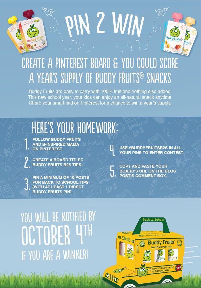 Buddy Fruits Back to School Tips [A Pin 2 Win Contest] - #BuddyFruitsB2S #pin2win #backtoschool