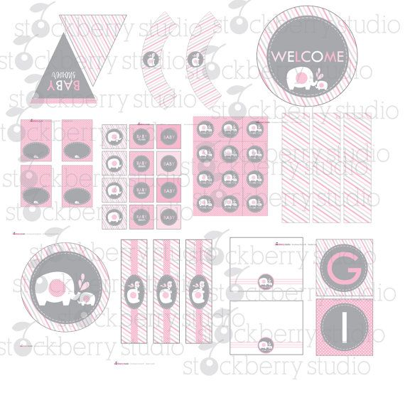 baby shower decor pink and gray baby shower decorations instant
