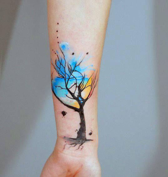 70 Aquarell Baum Tattoo Designs für Männer – Manly Nature Ink Ideen