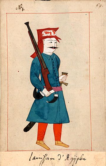 "Janissary from Egypt  ""Ianissari d'Agÿpte"". The 'Rålamb Costume Book' is a small volume containing 121 miniatures in Indian ink with gouache and some gilding, displaying Turkish officials, occupations and folk types. They were acquired in Constantinople in 1657-58 by Claes Rålamb who led a Swedish embassy to the Sublime Porte, and arrived in the Swedish Royal Library / Manuscript Department in 1886."