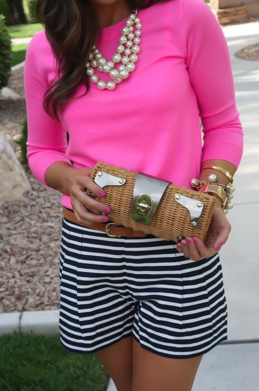 Navy Striped Shorts, Pink Sweater, Rattan Clutch, Navy Patent Wedges, J.Crew, Pearl Necklace, Banana Republic, Kate Spade  7