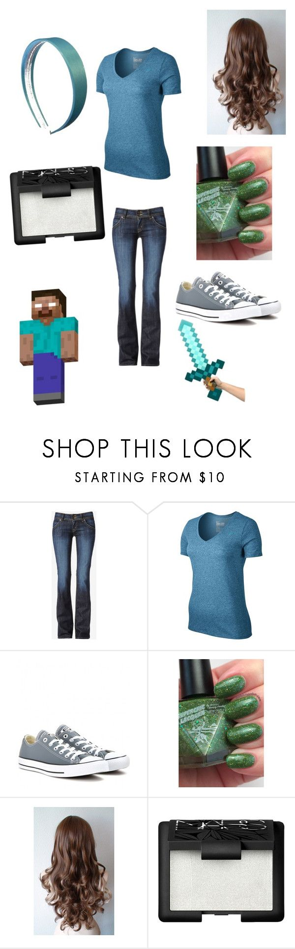 """""""Herobrine outfit"""" by ender1027 ❤ liked on Polyvore featuring Hudson Jeans, NIKE, Converse, NARS Cosmetics and Minecraft"""