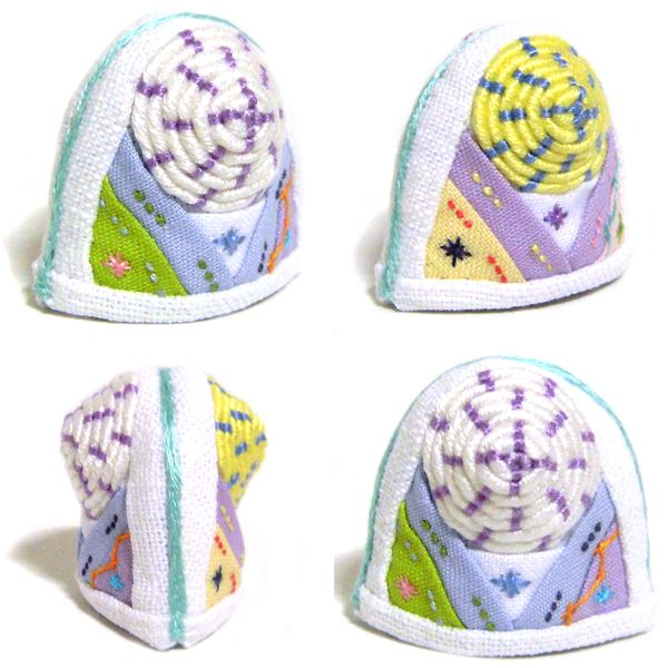 Korea Traditional Sewing Quilting Vintage Unique Collect White Yellow K Thimble  http://rimkimstudio.blogspot.com/