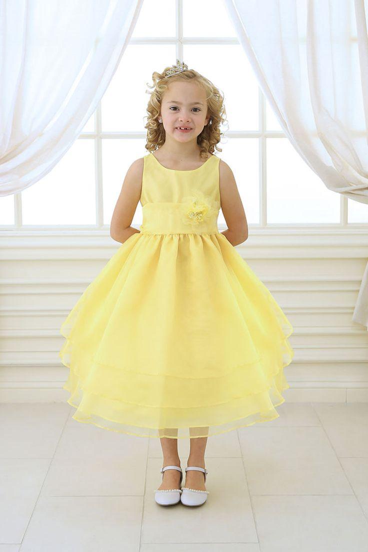 89 best wedding flower girl images on pinterest flower girls yellow simple layered flower girl dress with sash mightylinksfo