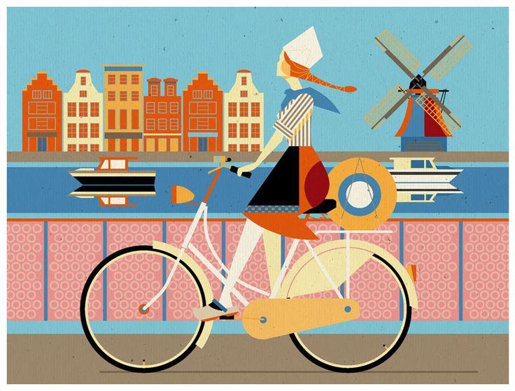 Illustration by Dieter Braun - Brauntown #cycling #vintage #illustration #Netherland #Holland #windmill #woman #human