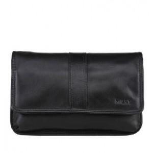 Black Handmade Business Leather Pochette Wrist Bag For Men - Men Bags - handbag shop