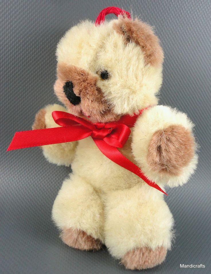 Shanghai Doll Factory Miniature Teddy Bear Wool Plush 50s -60s Glass Eyes Vtg