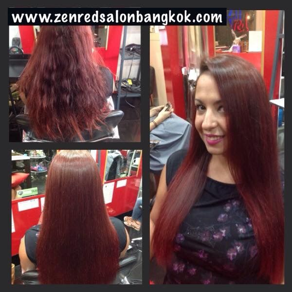 Get the best Brazilian keratin blowout's experience at Bangkok's Zen Red hair salon and spa. Tel:0836006176 for the latest technology in treatment and smoothing.