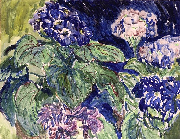 Sir Jacob Epstein (1880-1959) Blue primulas