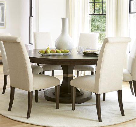 California Rustic Oak 7 Piece Round Dining Room Set