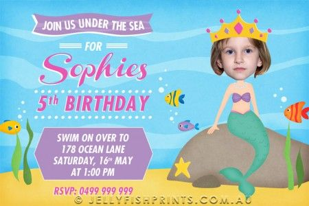 Mermaid Invitations for an Under the Sea Birthday Party – jellyfishprints.com.au