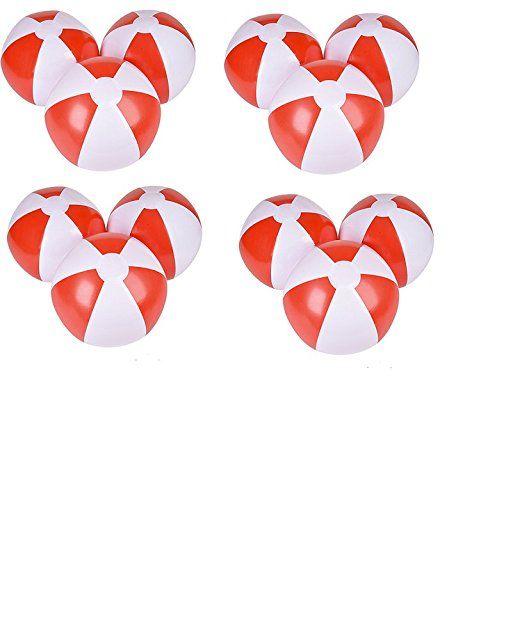 (24) 12'' Beach Balls ~ Red & White Beach Ball Inflates ~ Patriotic Beachballs ~ Pool Decor Beach Favor Water Play Fun Outdoor Birthday Fourth July Luau Wedding Celebration ~ Valentine