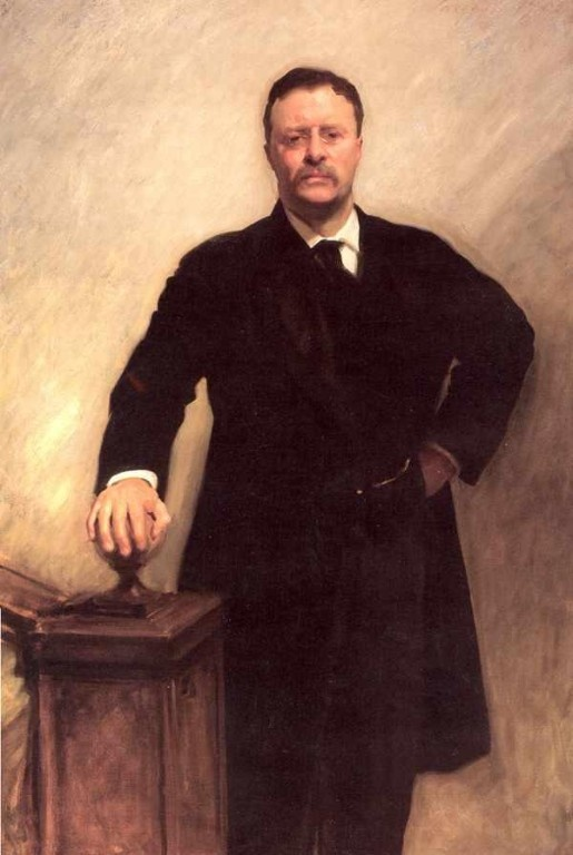 U.S.A. POLITICS. Theodore Roosevelt, 26th President of the United States, Republican, from 1901 to 1909.// painting by John Singer Sargent, 1903