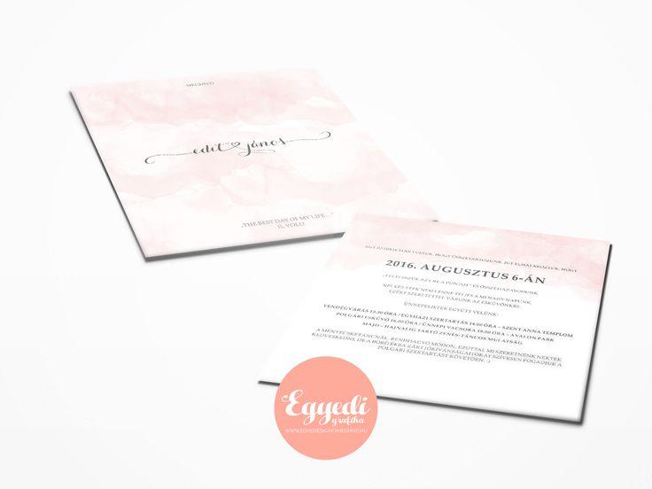 Halvány, kifinomult, színátmenetes meghívó | Light watercolor wedding invitation