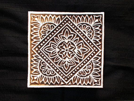 handcarved wooden block printing stamps ethnic indian tribal prints Set of 3 Pottery stamps paper fabric printing stamps wooden stamps
