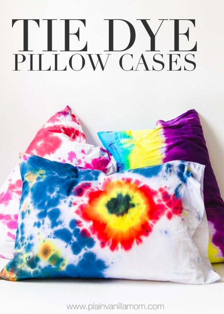 Kids of all ages will love making these Tie Dye Pillow Cases just in time for summer sleepovers and campouts! #diy