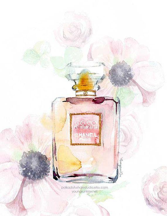 Coco Chanel Perfume Art Watercolor Giclee by PolkaDotWhaleStudio