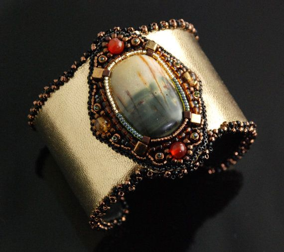 Cattails - Large Elegant Statement Bracelet, Large Bead Embroidered Cuff, Metallic Leather Bracelet Cuff by LuxVivensFashion, $155.00