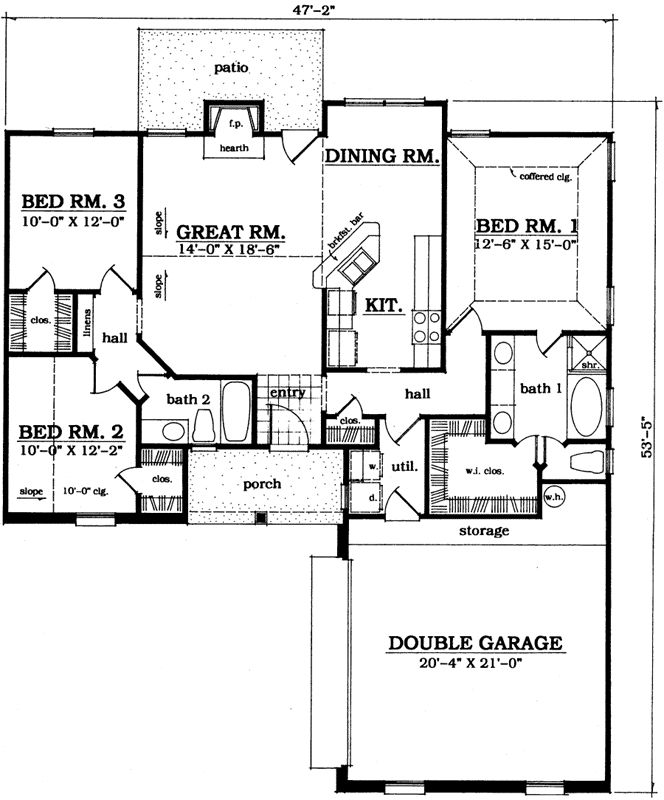 Traditional style house plans 1366 square foot home 1 for Traditional open floor plans