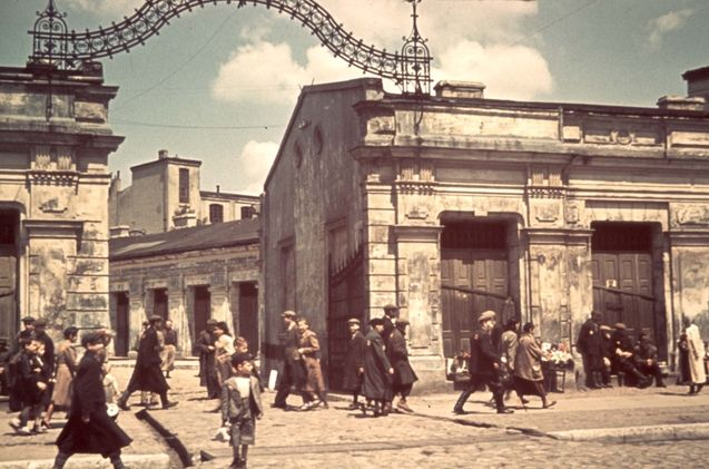Lodz, Poland, A street scene in the Jewish ghetto. These wonderful people will next be sent to the death camps.