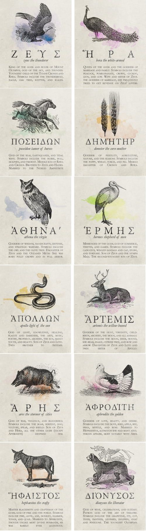 Favorite animals of famous Greek Gods.