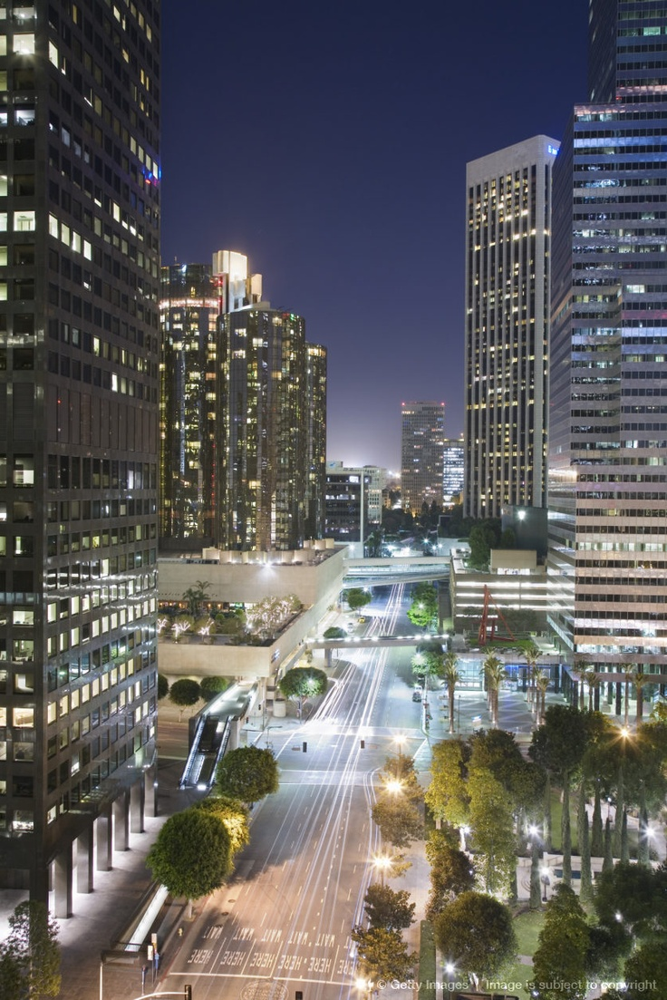 Los Angeles downtown at night, California, USA