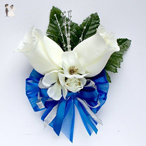 1716 best wedding table decor images on pinterest wedding tables ivory silk rose buds corsage with royal blue accents wedding flowers by balsacircle wedding junglespirit Choice Image