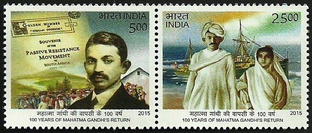 Every year the day on which he returned jan 24 is celebrated as NRI day to commemorate India's well known nri Gandhi. It is called prabhavati bharatiya divas. January of 2014 was the 100th anniversary of his return.   Gandhi stamp India freedom fighter father of India